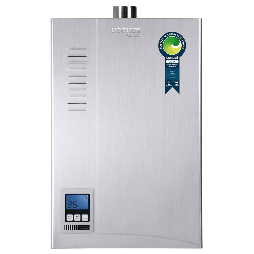 Aquecedor de Água a Gás Komeco Digital Inox 22,5 Litros/min KO 22DI GLP
