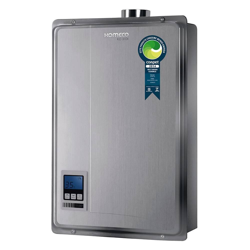 Aquecedor de Água a Gás Komeco Digital Inox 31 Litros/min KO 31DI GN