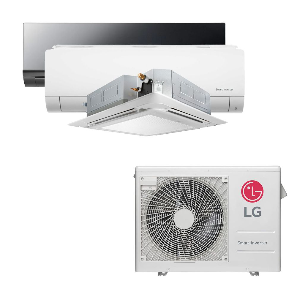 Ar Condicionado Multi Split Inverter LG 24.000 BTUS Quente/Frio 220V +1x High Wall LG Art Cool 9.000 BTUS +1x High Wall LG Com Display 9.000 BTUS +1x Cassete 4 Vias LG 18.000 BTUS