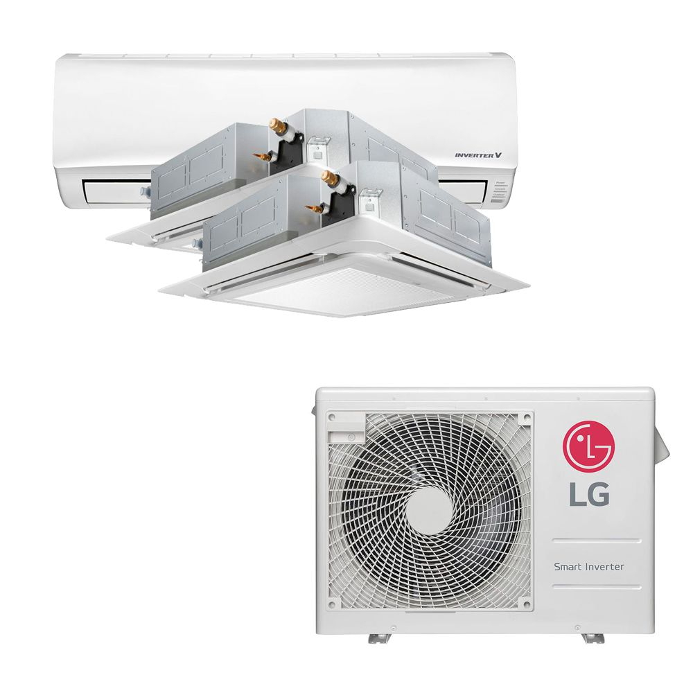 Ar Condicionado Multi Split Inverter LG 24.000 BTUS Quente/Frio 220V +1x High Wall LG Libero 7.000 BTUS +2x Cassete 4 Vias LG 12.000 BTUS
