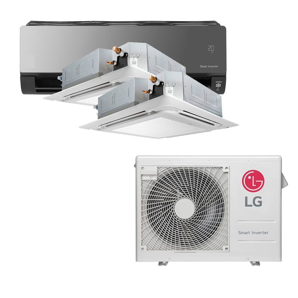 Ar Condicionado Multi Split Inverter LG 24.000 BTUS Quente/Frio 220V +2x Cassete 4 Vias LG 9.000 BTUS +1x High Wall LG Art Cool com Display e Wi-Fi 12.000 BTUS