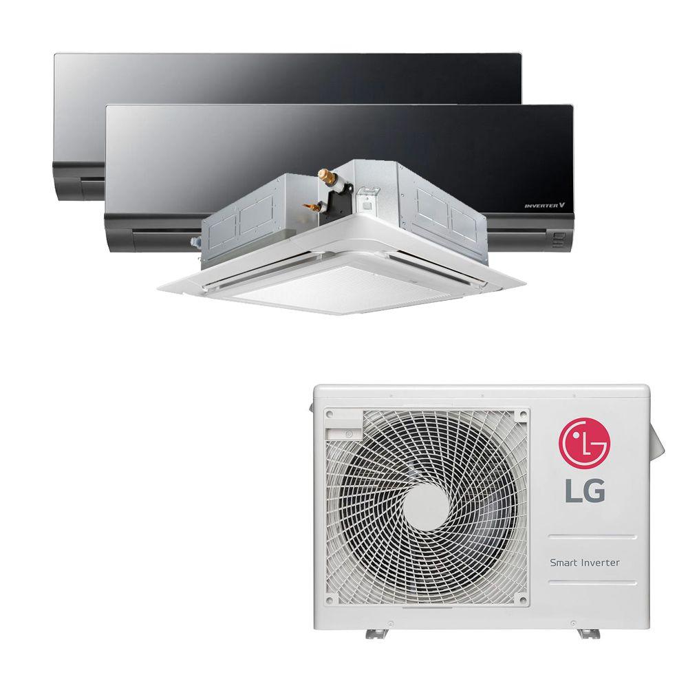 Ar Condicionado Multi Split Inverter LG 24.000 BTUS Quente/Frio 220V +2x High Wall LG Art Cool 9.000 BTUS +1x Cassete 4 Vias LG 18.000 BTUS