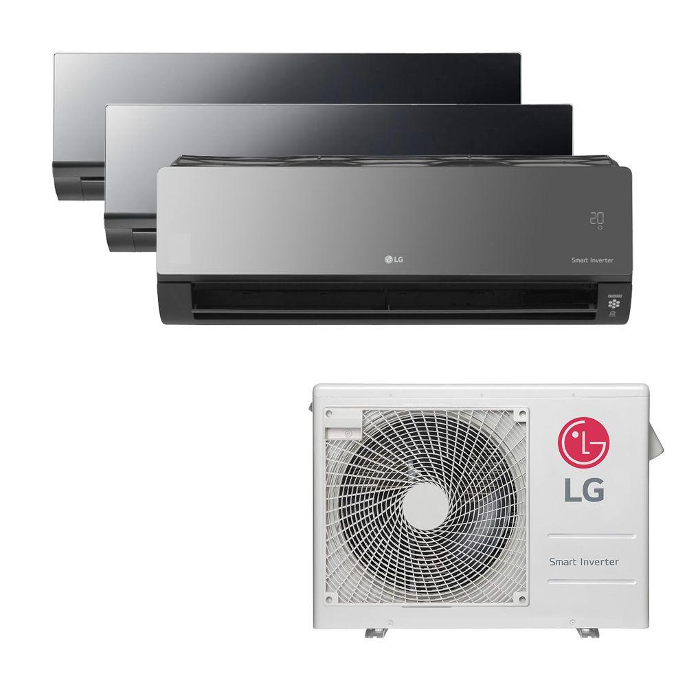 Ar Condicionado Multi Split Inverter LG 24.000 BTUS Quente/Frio 220V +2x High Wall LG Art Cool 9.000 BTUS +1x High Wall LG Art Cool com Display e Wi-Fi 18.000 BTUS