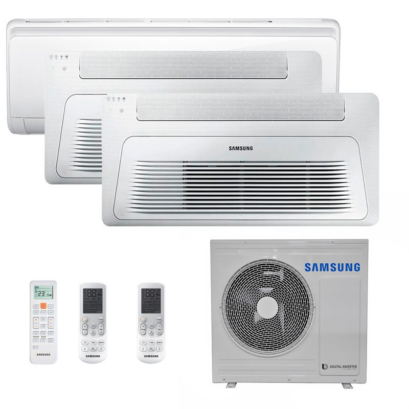 Ar Condicionado Multi Split Inverter Samsung FJM 23.000 BTUS Quente/Frio 220V + 2x Cassete 1 Via Wind Free 12.000 BTUS + 1x High Wall Maldives 12.000 BTUS