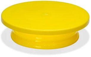 Bailarina Bandeja Giratória Em Polietileno Amarelo Redonda Com Base 30x08cm SOLRAC
