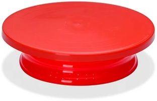 Bailarina Bandeja Giratória Em Polietileno Vermelho Redonda Com Base 30x08cm SOLRAC