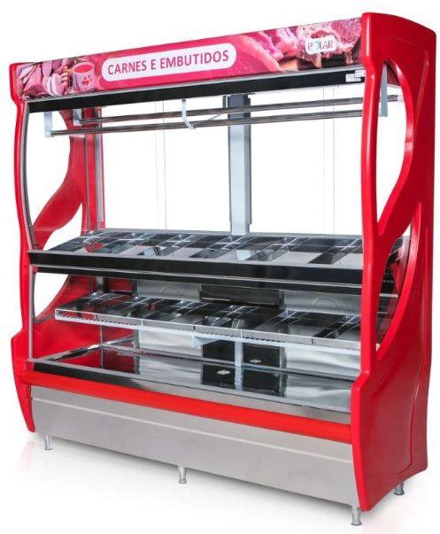 Balcão Expositor Açougue Vertical 2,00m Luxo 1250 Litros 220V MEVA-200 Polar Refrigeração