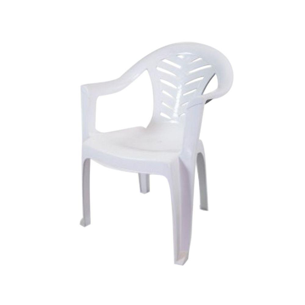 Cadeira Poltrona Plástica Super-resistente Branca Tambaú Plastex