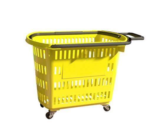 Cesta Plástica Para Mercados C/ Rodas Della Plast D-300 Amarela 30 Litros