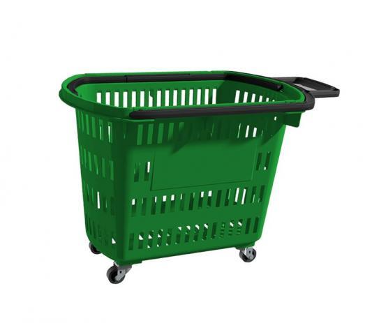 Cesta Plástica Para Mercados C/ Rodas Della Plast D-300 Verde 30 Litros