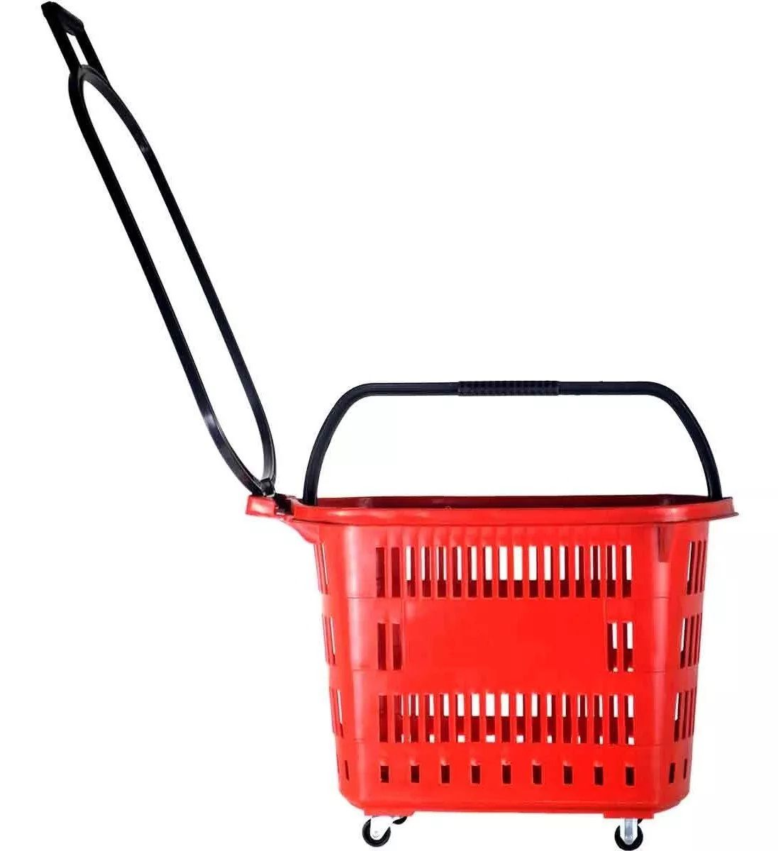 Cesta Plástica Para Mercados C/ Rodas Della Plast D-300 Vermelho 30 Litros