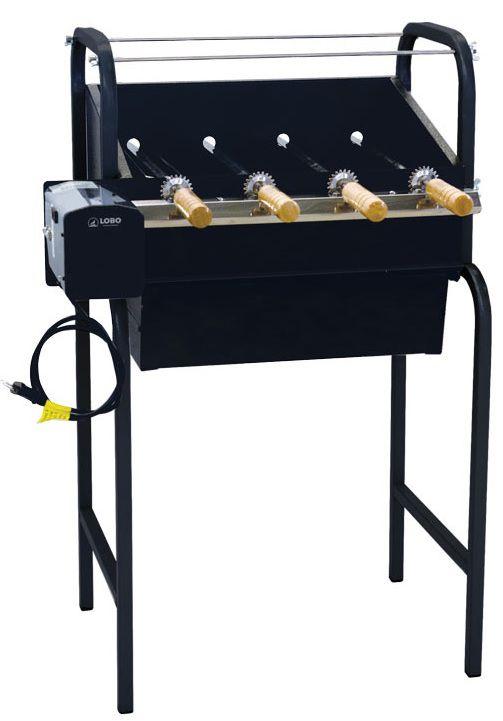 Churrasqueira Em Aço Carbono Portátil Bivolt 4 Espetos Giratórios Inox Canadense LOBO