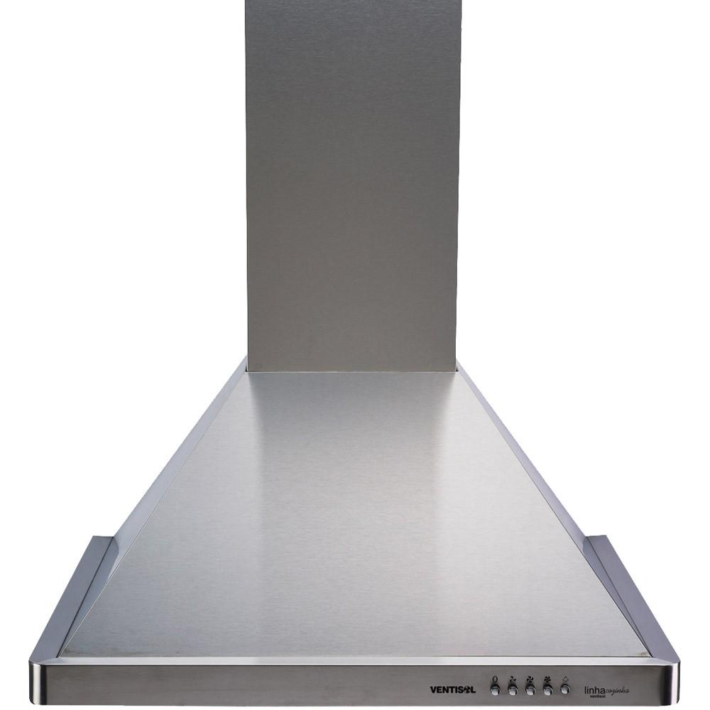 Coifa Inox Piramidal Parede 4 Bocas 3 Vel Vidro 60cm 220v Premium CPIV60-02 Ventisol