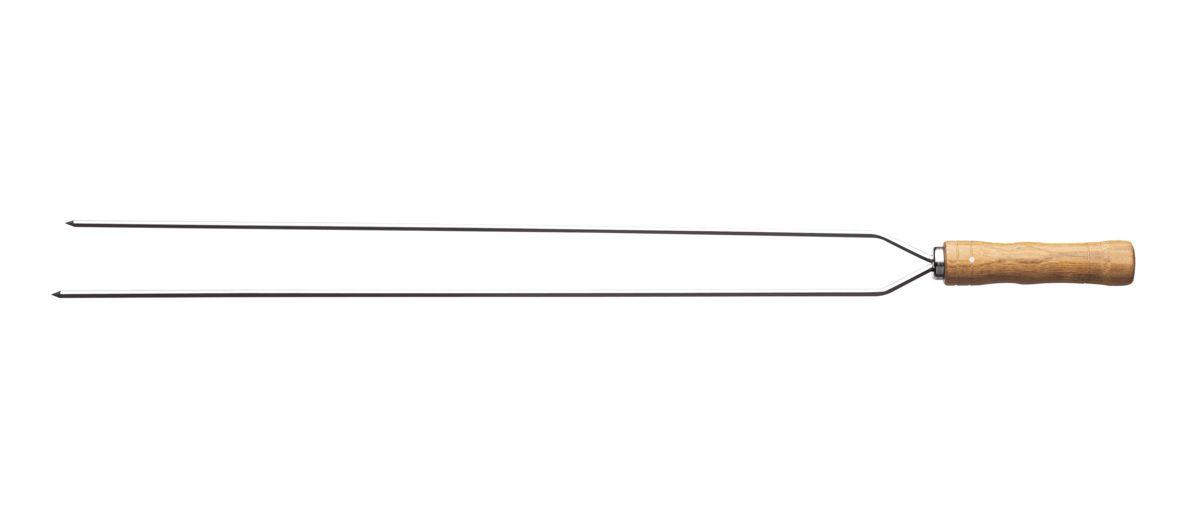 Espeto Duplo Para Churrasco Em Inox Com Cabo De Madeira 95 cm Tramontina