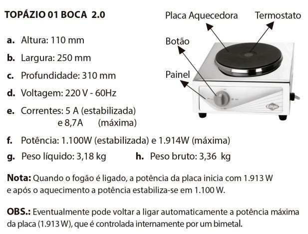 Fogão Elétrico Portátil Inox 1 Queimador Placa 220V Topázio 2.0 Layr