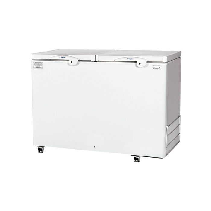 Freezer Horizontal Fricon Chapa 2 Tampas Branco Dupla Ação 411 Litros 220V