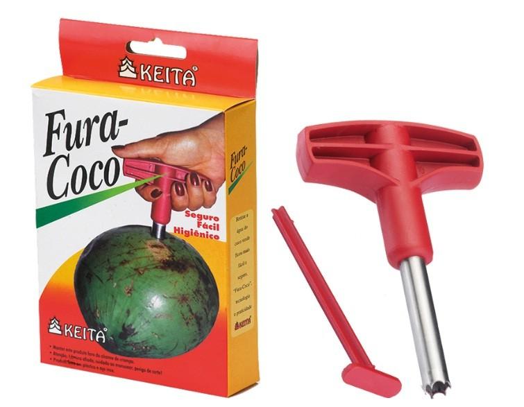 Furador De Coco Com Cabo Plástico Tubo Broca Inox FC01 Keita