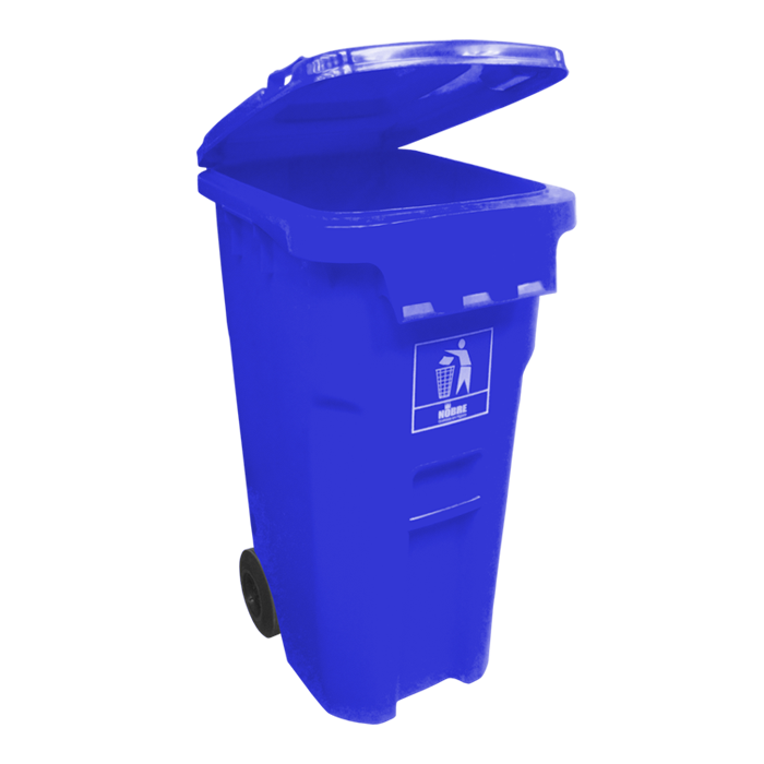 Lixeira Plástica Com Rodas 240L Azul Goedert