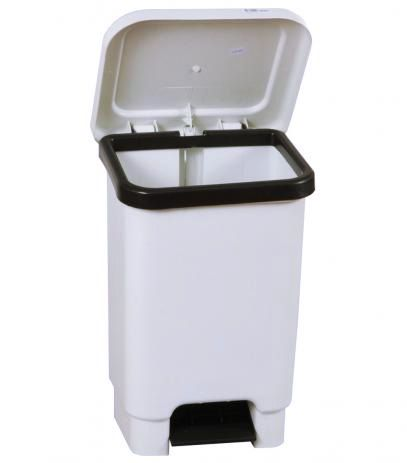 Lixeira Retangular Marfinite 100 Litros Branca com Pedal