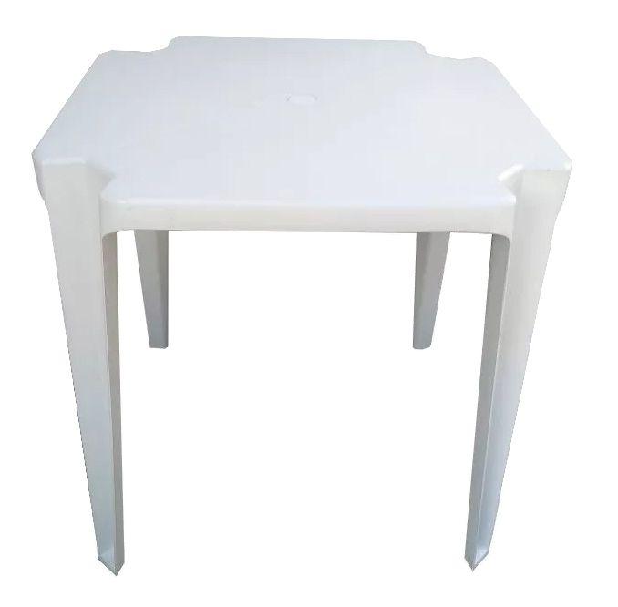 Mesa Plástica Octógono Cabo Branco Plastex Branca 70x71x70