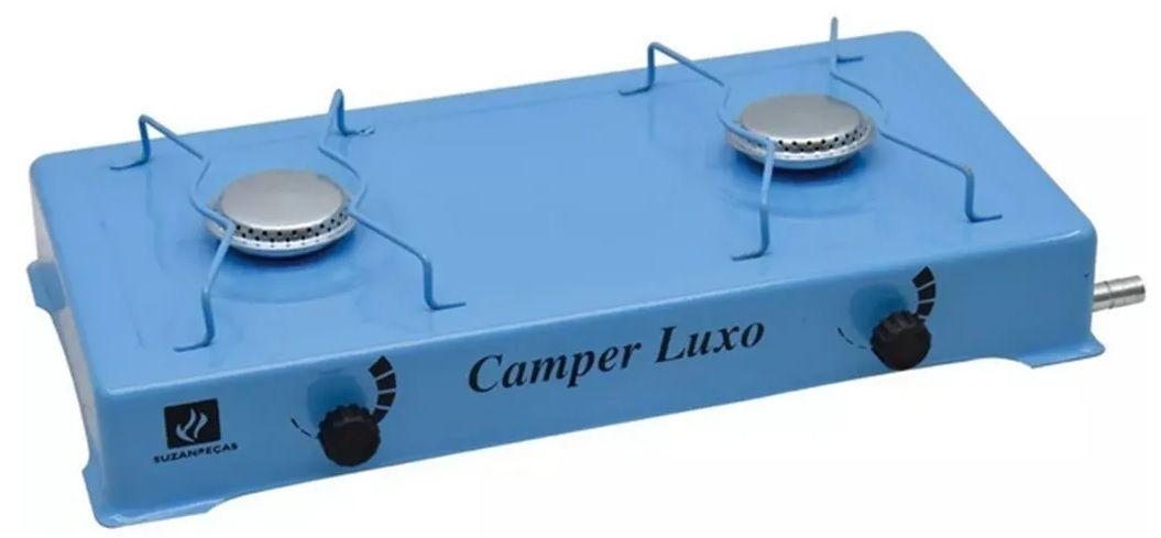 Mini Fogão 2 Queimadores Em Alúminio Azul Gás GLP Camper Luxo Suzan