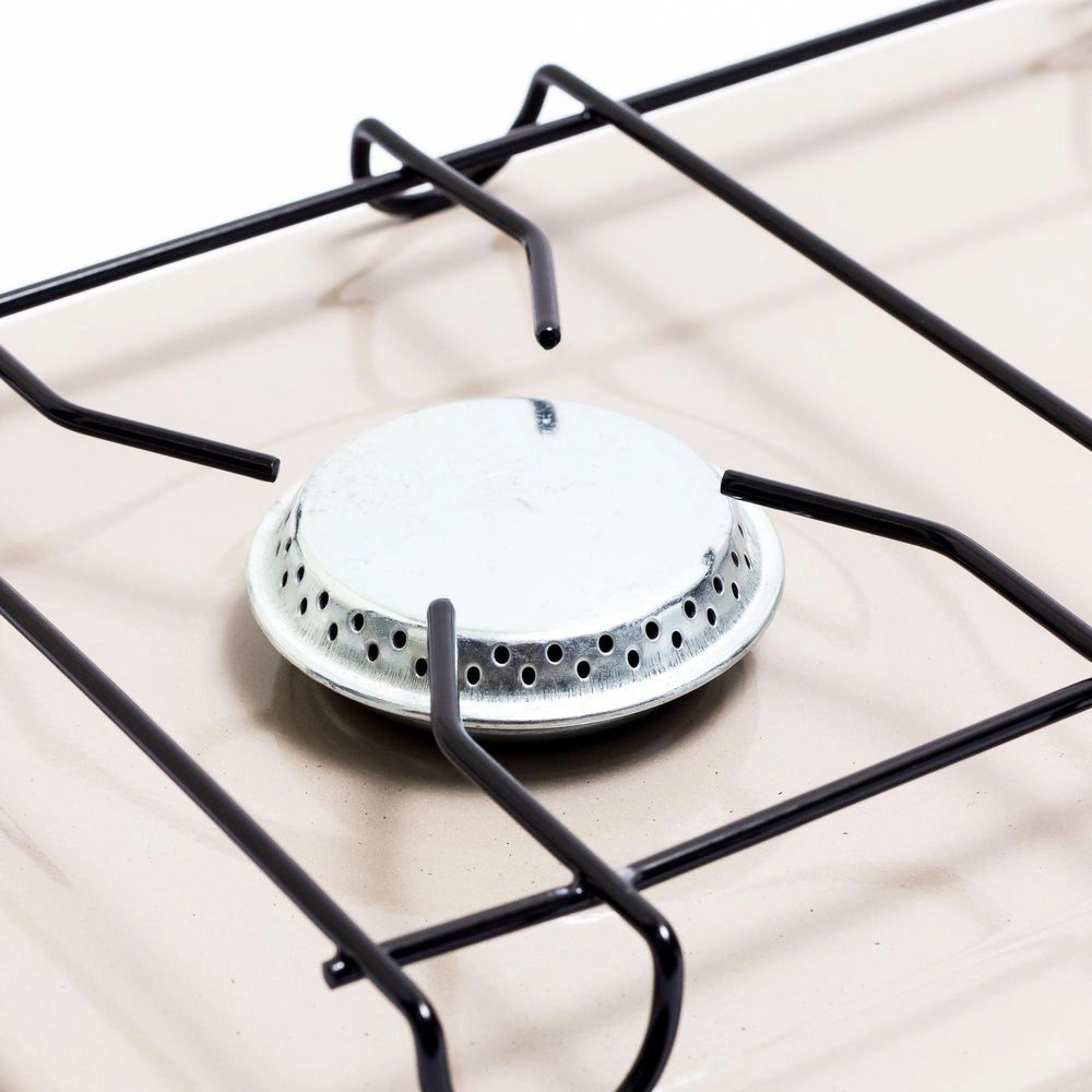 Mini Fogão 2 Queimadores Em Alúminio Bege Gás GLP Camper Luxo Suzan