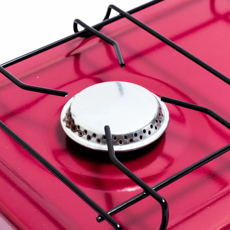 Mini Fogão 2 Queimadores Em Alúminio Vinho Gás GLP Camper Luxo Suzan