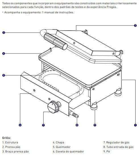 Mini Grill Inox Gás GLP Baixa Pressão 1 Prensa Style PR-220 G Progás