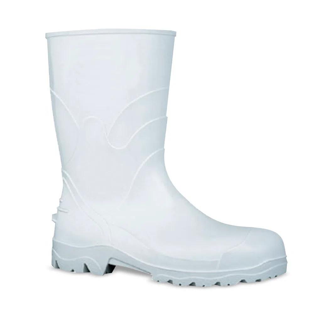 Par De Botas Para Segurança No Trabalho Em PVC Branco Cano Alto Nº 43 Proteplus