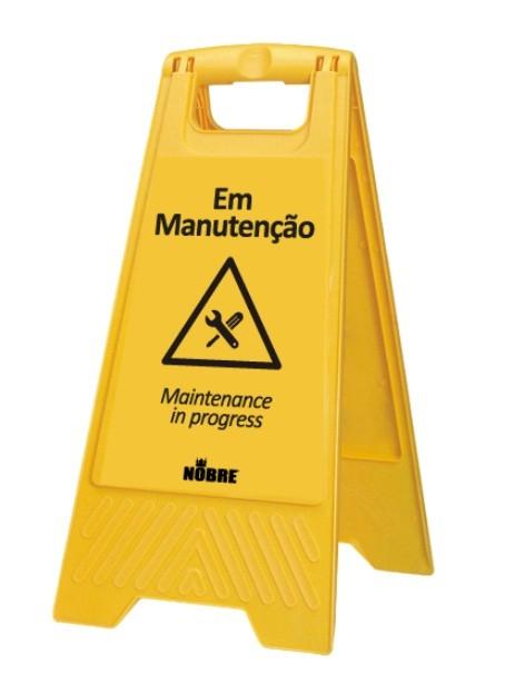 """Placa Sinalizadora """"Em Manuntenção"""" Amarela Nobre Goedert"""