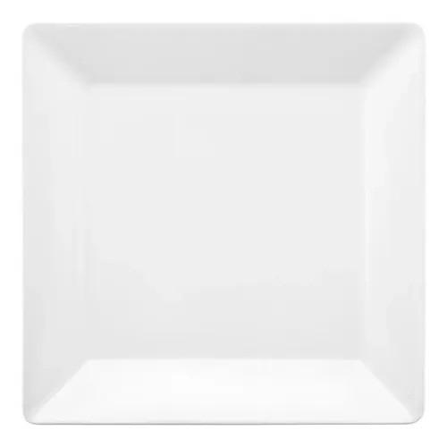 Prato Fundo Em Porcelana Quadrado 21,0cm Quartier White Oxford