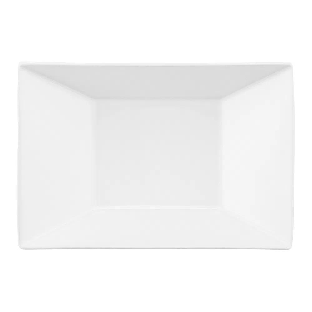 Prato Fundo Em Porcelana Retangular 23,5cm Plateau White Oxford