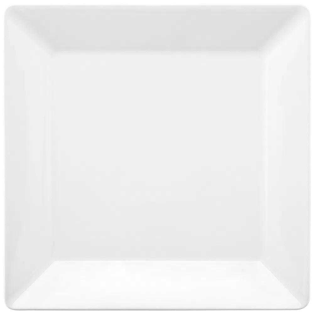 Prato Raso Em Porcelana Quadrado 26,5cm Quartier White Oxford