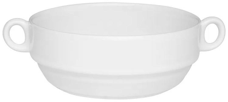 Tigela de Porcelana Redonda Com Asa 400ml Branco 13cm Consommé Oxford