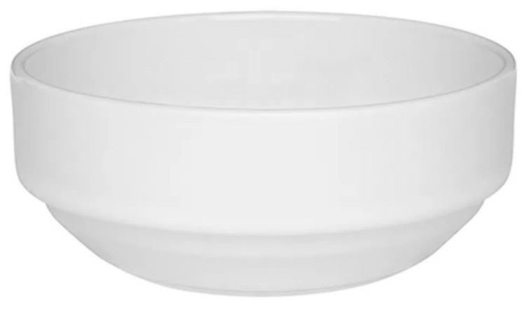 Tigela de Porcelana Redonda Empilhável 300ml Branco 12cm Gourmet Oxford