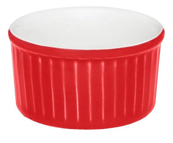 Tigela Pequena em Porcelana 100ml Vermelho 08cm Ramequin Oxford