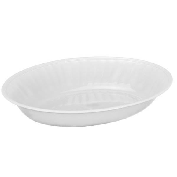 Travessa Plástica Oval Pequena Canelada Branca 600ml Alves Plastic 22x04x15