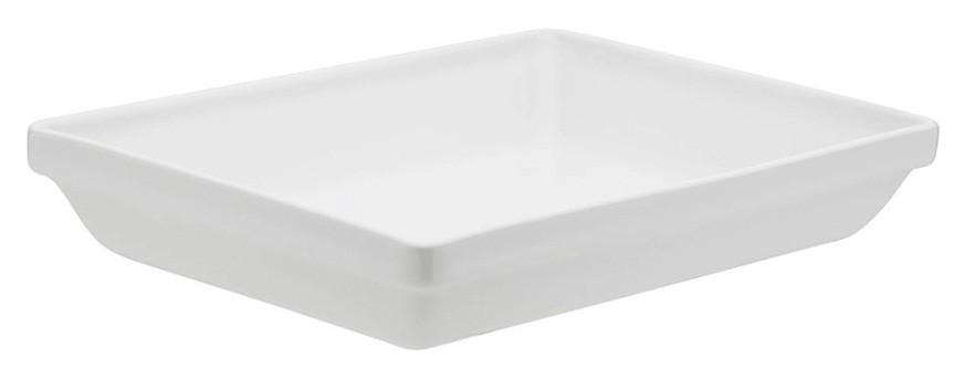 Travessa Refratária Retangular Empilhável Média Porcelana Branco 27cm Oxford