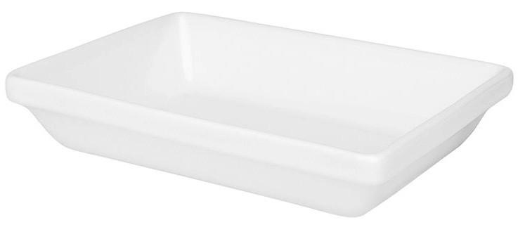 Travessa Refratária Retangular Empilhável Pequena Porcelana Branca 20cm Oxford