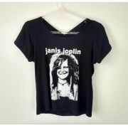 Camiseta Baby Look Transpassada Feminina Janis Joplin Preta