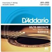Corda Aço D'Addario para Violão 011 EZ910-B Light – 85/15 + 1 MI EXTRA