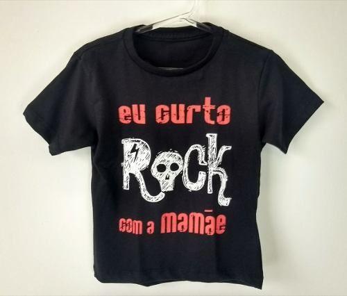 Camiseta Infantil Curto Rock Com A Mamãe Cor Preta