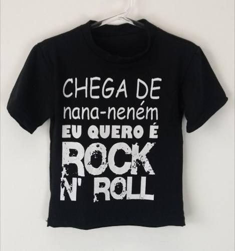 Camiseta Infantil Chega De Nana Neném Eu Quero É Rock N Roll