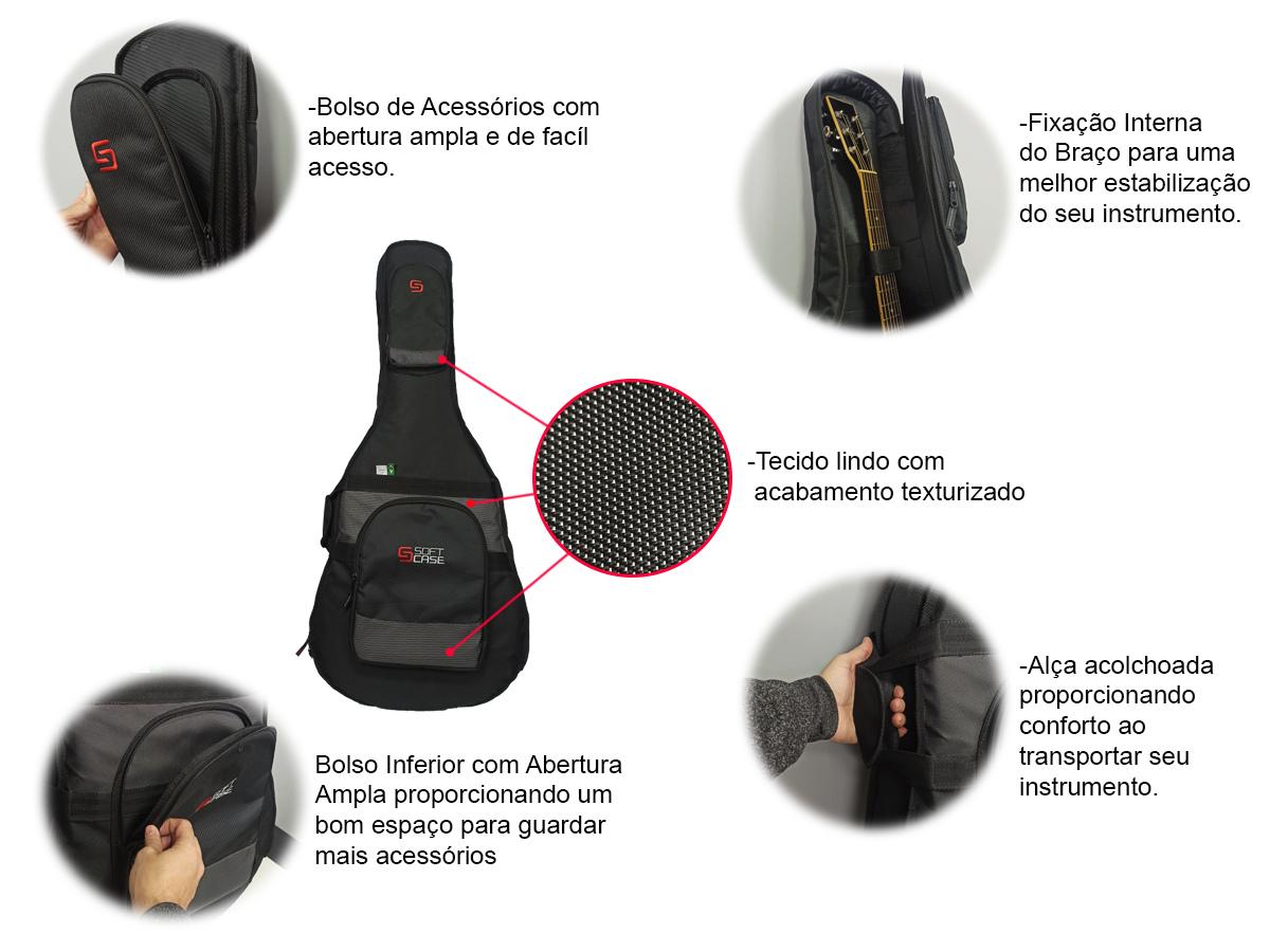Bag Semi Case para Violão Folk Linha Move - Soft Case