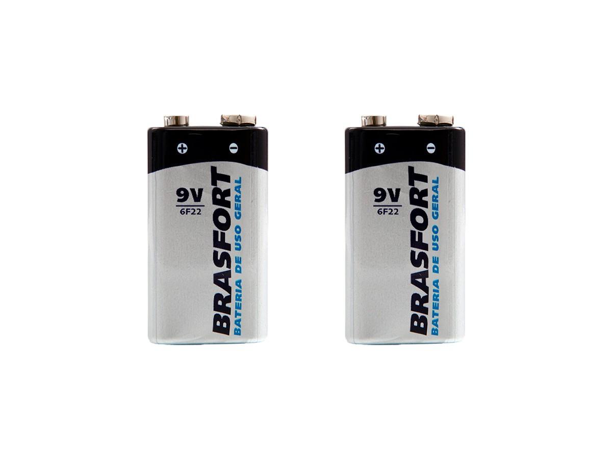 Bateria 9v Pilha de Uso Geral - Brasfort - 02 Unidades
