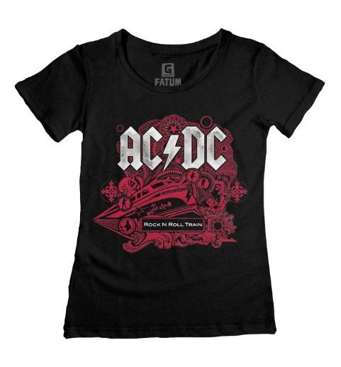 Camiseta Baby Look Feminina AC/DC Rock N Roll Train Preta