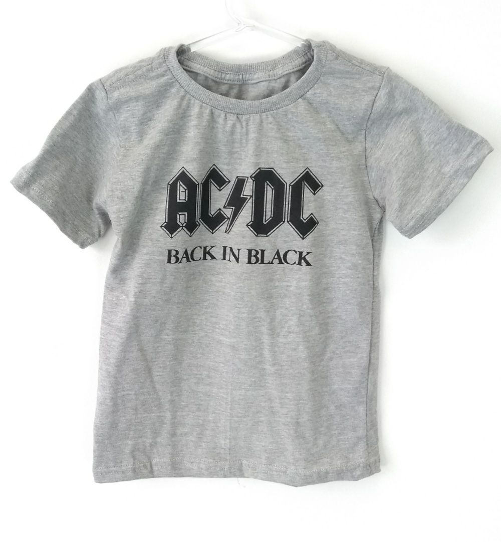Camiseta Infantil Banda De Rock Ac/dc Back In Black Mescla