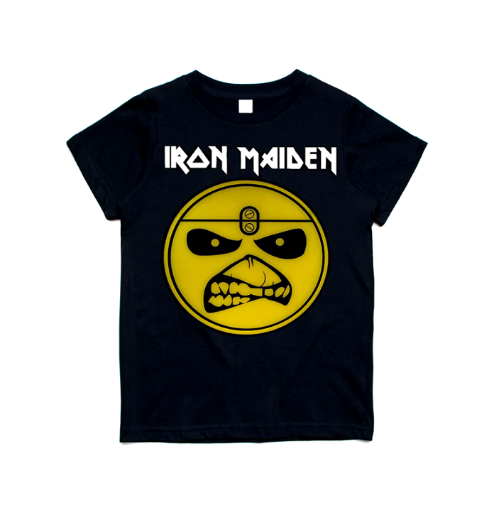 Camiseta Infantil Banda De Rock Iron Maiden Eddie Smile