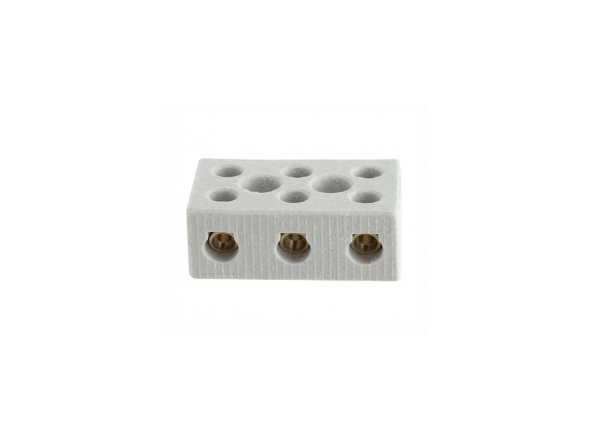 Conector De Porcelana 3 Polos De 6mm - Ducha - Chuveiro