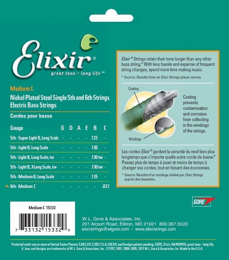 Corda Elixir 6th para Baixo Medium C.032 Nanoweb